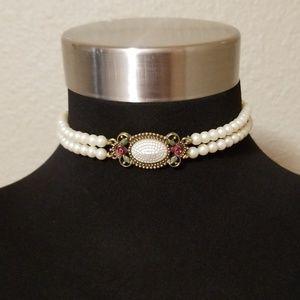 1928 Double Strand Pearl Bead Choker